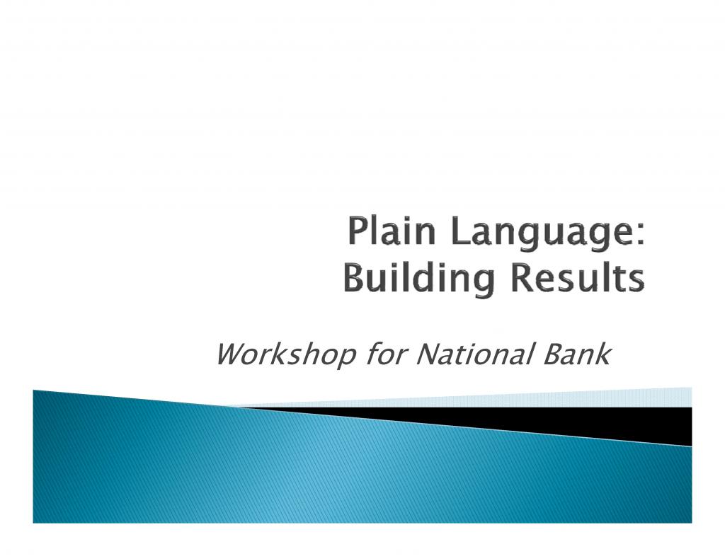 Plain Language-workshop